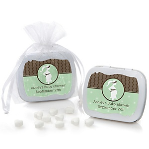 Mommy Silhouette It's A Baby - Personalized Baby Shower Mint Tin Favors