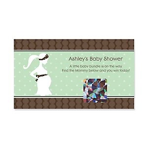 Mommy-To-Be Silhouette – It's A Baby - Personalized Baby Shower Game Scratch Off Cards - 22 ct