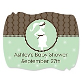 Mommy Silhouette It's A Baby - Personalized Baby Shower Squiggle Sticker Labels - 16 Count