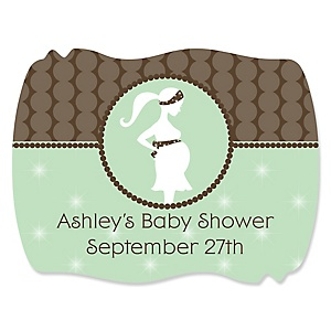 Mommy-To-Be Silhouette – It's A Baby - Personalized Baby Shower Squiggle Stickers - 16 ct