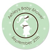 Mommy Silhouette It's A Baby - Personalized Baby Shower Round Sticker Labels - 24 Count