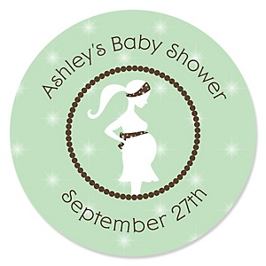 Mommy Silhouette It's A Baby - Personalized Baby Shower Sticker Labels - 24 ct