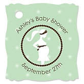 Mommy Silhouette It's A Baby - Personalized Baby Shower Tags - 20 Count