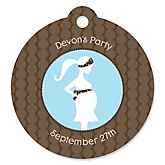 Mommy Silhouette It's A Boy - Personalized Baby Shower Tags - 20 Count