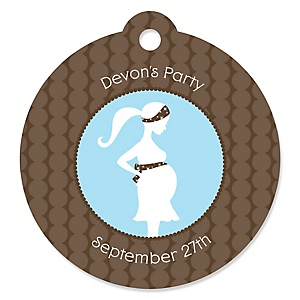 Mommy Silhouette It's A Boy - Round Personalized Baby Shower Die-Cut Tags - 20 ct