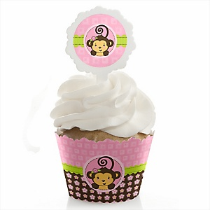 Monkey Girl - Cupcake Wrapper & Pick Party Kit - Set of 24