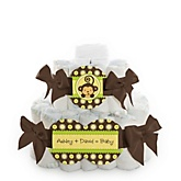 Monkey Neutral - 2 Tier Personalized Square Baby Shower Diaper Cake