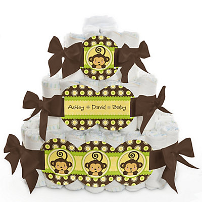 Monkey 3 Tier Baby Shower Diaper Cake