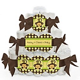 Monkey Neutral - 3 Tier Personalized Square Baby Shower Diaper Cake
