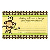 Monkey Neutral - Baby Shower Helpful Hint Advice Cards Game - 18 Count
