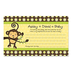 Monkey Neutral - Personalized Baby Shower Helpful Hint Advice Cards - 18 ct.