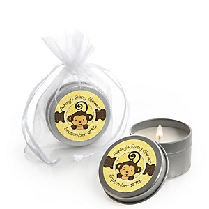 Monkey Neutral - Candle Tin Personalized Baby Shower Favors