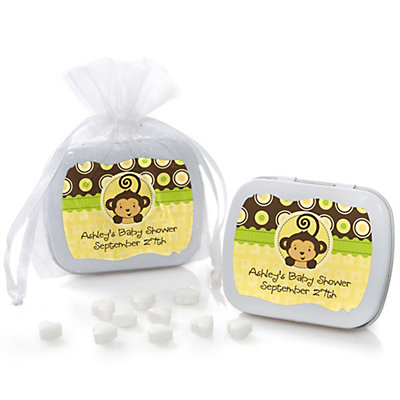 Monkey Neutral - Mint Tin Personalized Baby Shower Favors...