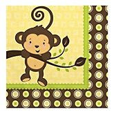 Monkey Neutral - Baby Shower Luncheon Napkins - 16 Pack