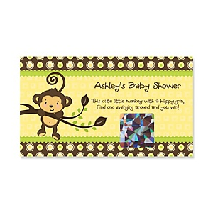 Monkey Neutral - Personalized Baby Shower Game Scratch Off Cards - 22 ct