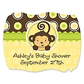 Monkey Neutral - Personalized Baby Shower Squiggle Sticker Labels - 16 Count
