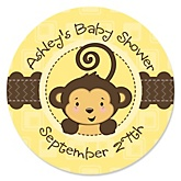 Monkey Neutral - Personalized Baby Shower Round Sticker Labels - 24 Count