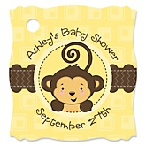 Monkey Neutral - Personalized Baby Shower Tags - 20 Count