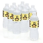 Monkey Neutral - Baby Shower Personalized Water Bottle Sticker Labels - 10 Count