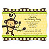Monkey Neutral - Personalized Birthday Party Invitations