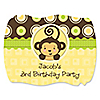 Monkey Neutral - Personalized Birthday Party Squiggle Stickers - 16 ct
