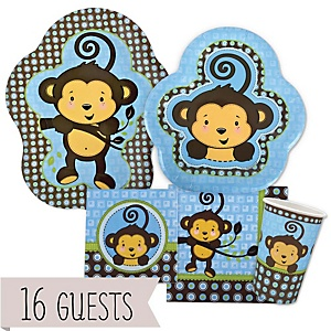 Monkey Boy - Baby Shower Tableware Bundle for 16 Guests