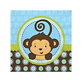 Blue Monkey Boy - Baby Shower Beverage Napkins - 16 ct