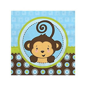 Monkey Boy - Baby Shower Beverage Napkins - 16 Pack