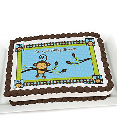 Monkey boy personalized baby shower cake topper - Baby shower monkey theme cakes ...