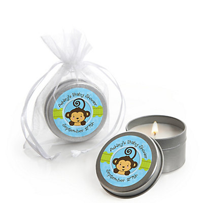 monkey boy candle tin personalized baby shower favors