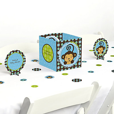 Blue monkey boy baby shower table decorating kit for Baby boy shower decoration kits