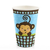 Blue Monkey Boy - Baby Shower Hot/Cold Cups - 8 ct