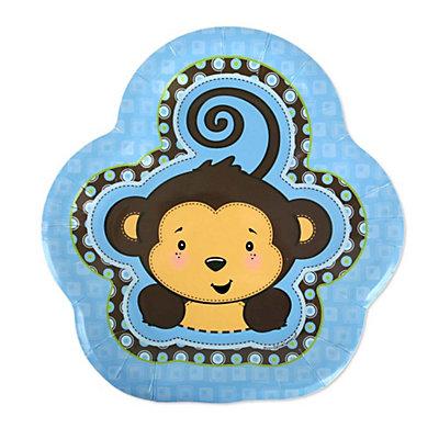 monkey boy baby shower dessert plates 8 ct