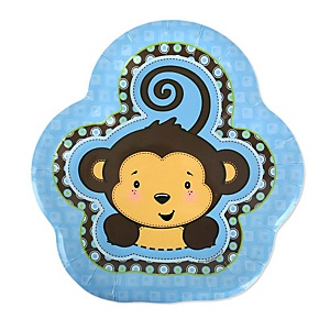 Blue Monkey Boy - Baby Shower Dessert Plates - 8 ct