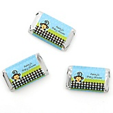 Blue Monkey Boy - Personalized Baby Shower Mini Candy Bar Wrapper Favors - 20 ct
