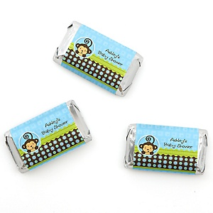Monkey Boy - Personalized Baby Shower Mini Candy Bar Wrapper Favors - 20 ct