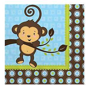 Monkey Boy - Baby Shower Luncheon Napkins - 16 Pack