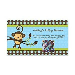Monkey Boy - Personalized Baby Shower Game Scratch Off Cards - 22 ct