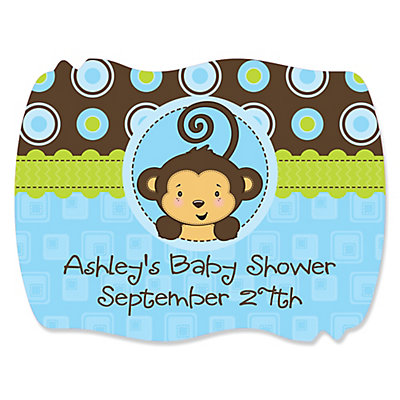 monkey boy personalized baby shower squiggle stickers 16 ct