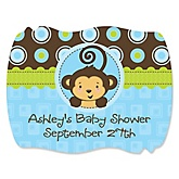 Monkey Boy - Personalized Baby Shower Squiggle Sticker Labels - 16 Count