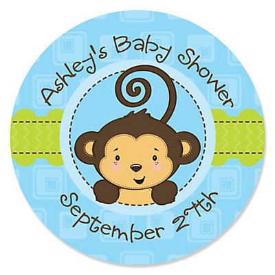 monkey boy personalized baby shower sticker labels 24 ct