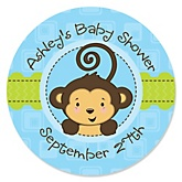 Monkey Boy - Personalized Baby Shower Round Sticker Labels - 24 Count