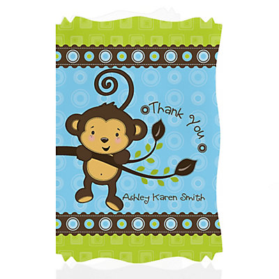 monkey boy personalized baby shower thank you cards