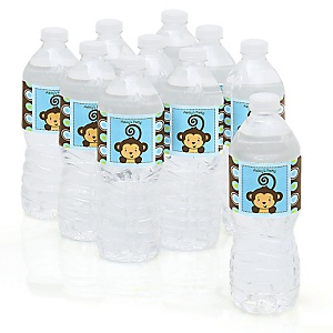 Monkey Boy - Personalized Party Water Bottle Sticker Labels - Set of 10
