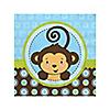 Blue Monkey Boy - Birthday Party Beverage Napkins - 16 ct