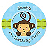 Monkey Boy - Personalized Birthday Party Sticker Labels - 24 ct