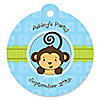 Monkey Boy - Round Personalized Party Tags - 20 ct