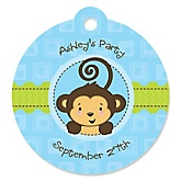 Monkey Boy - Personalized Baby Shower Round Tags - 20 Count