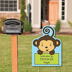 Monkey Boy - Party Decorations - Birthday Party or Baby Shower Personalized Welcome Yard Sign