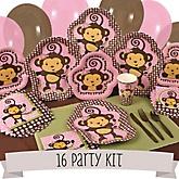 Monkey Girl - 16 Person Baby Shower Kit